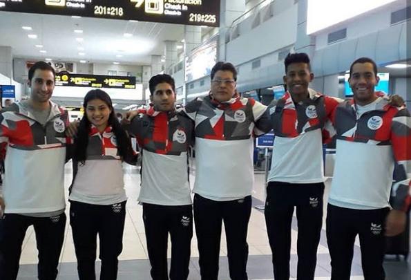Grupo de atletas panameño en el Aeropuerto Internacional de Tocumen. Foto:  COP